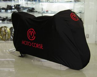 "Black color bike cover ""polyester/elastan"" with Motocorse logo"