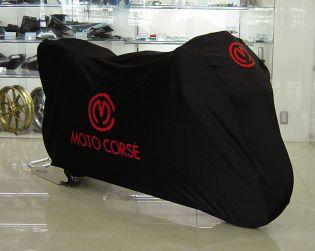 "Black color bike cover ""polyester/elastan"" with Motocorse logo"