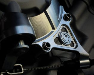 Machined from solid clutch cover protection with clutch cable bracket